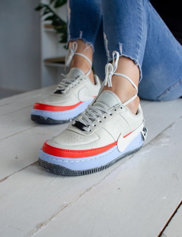 Шикарные женские кроссовки nike air force jester white/orange