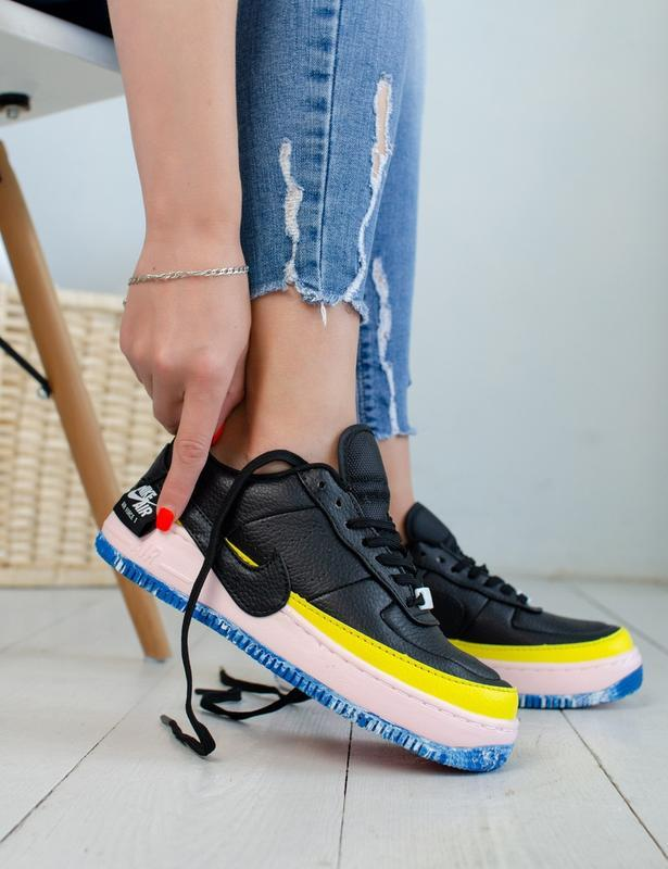 Шикарные женские кроссовки nike air force jester black/yellow
