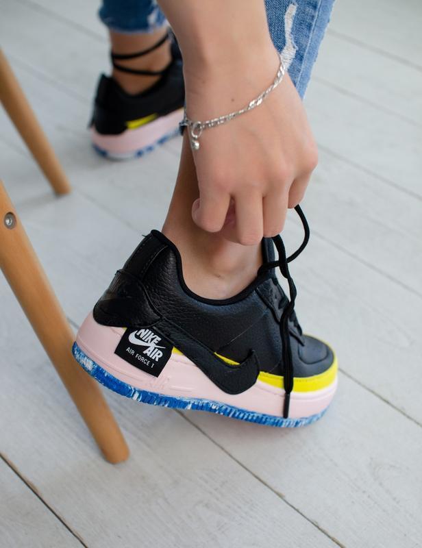 Шикарные женские кроссовки nike air force jester black/yellow - Фото 2
