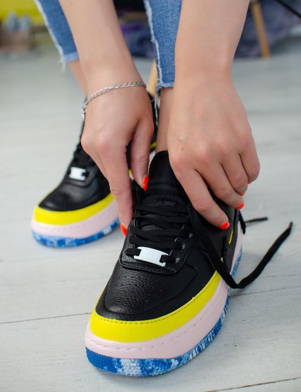 Шикарные женские кроссовки nike air force jester black/yellow - Фото 3