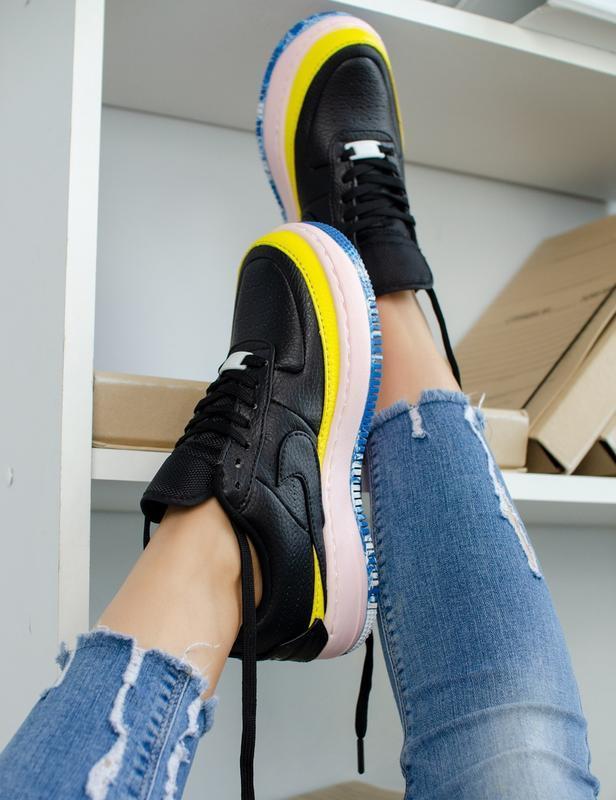 Шикарные женские кроссовки nike air force jester black/yellow - Фото 5