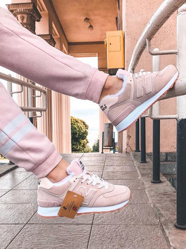 Шикарные женские зимние кроссовки new balance 574 pink winter - Фото 3