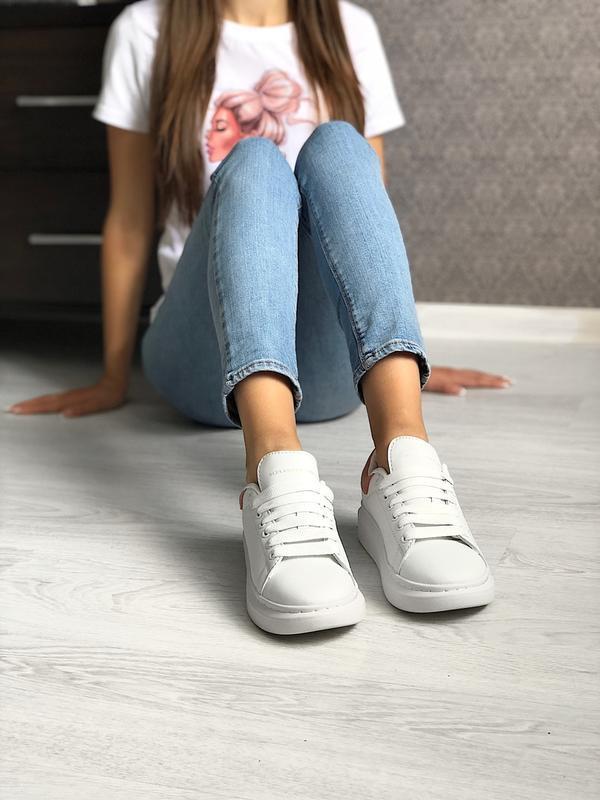 Шикарные женские кроссовки alexander mcqueen white/pink - Фото 2