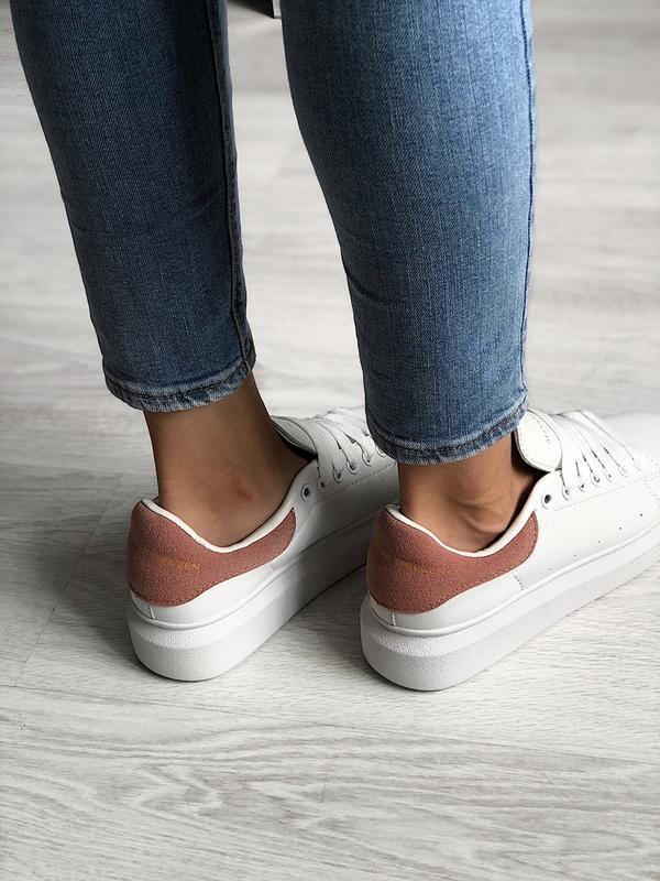 Шикарные женские кроссовки alexander mcqueen white/pink - Фото 3