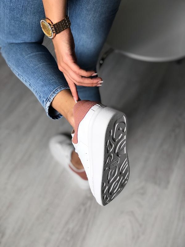 Шикарные женские кроссовки alexander mcqueen white/pink - Фото 4