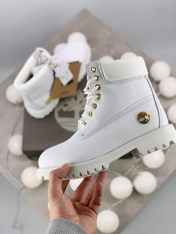 Шикарные женские зимние ботинки timberland boots premium white...