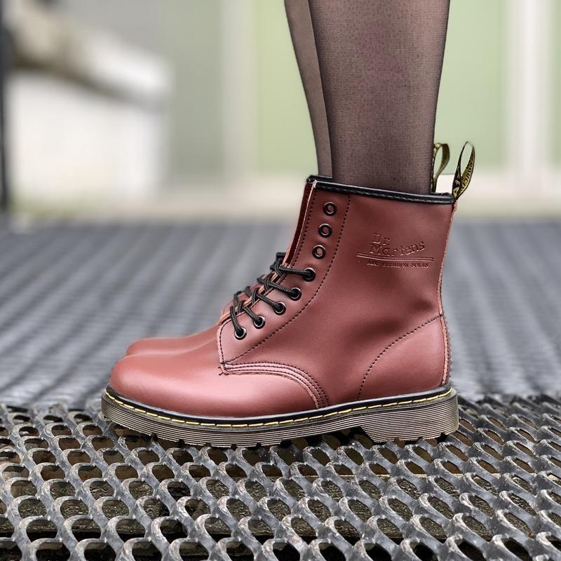 Шикарные женские зимние ботинки dr.martens 1460 cherry
