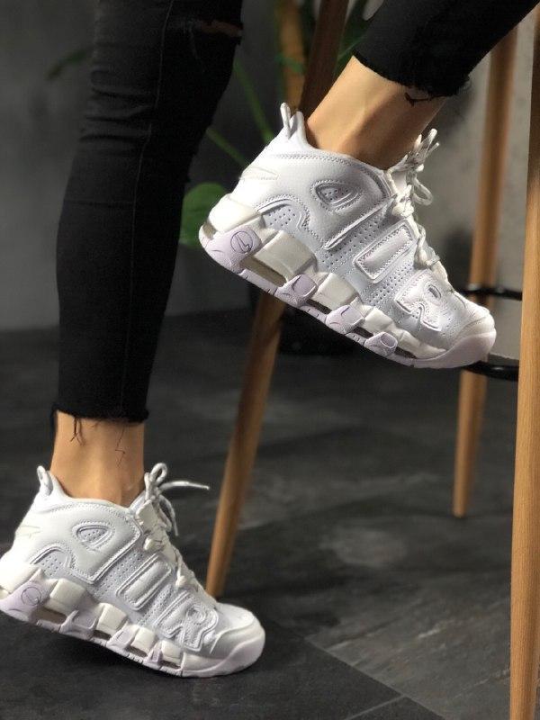Шикарные кроссовки nike air more uptempo white on white унисекс