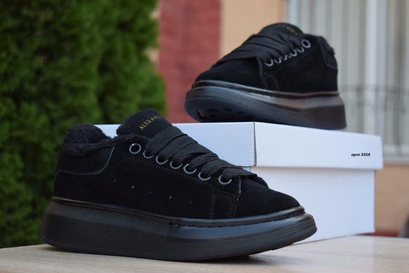Шикарные женские  зимние кроссовки alexander mcqueen black