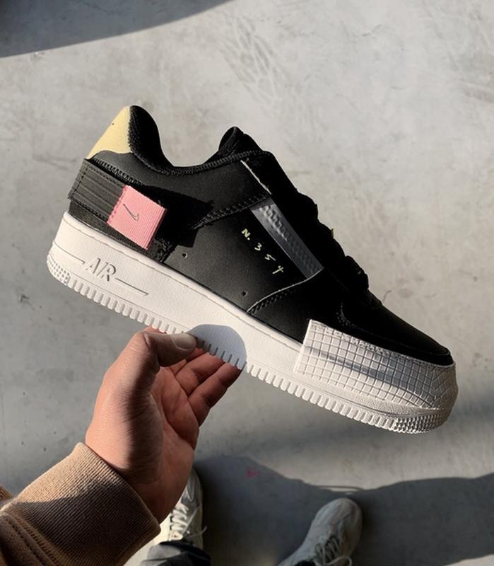 Шикарные мужские кроссовки nike air force 1 type black