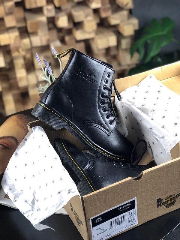 Шикарные женские зимние ботинки dr. martens 1460 full black (мех)