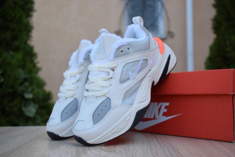 Шикарные женские  зимние кроссовки nike m2k tekno white/grey/o...
