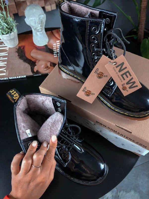 Шикарные женские зимние ботинки dr.martens 1460 black lacquere... - Фото 4