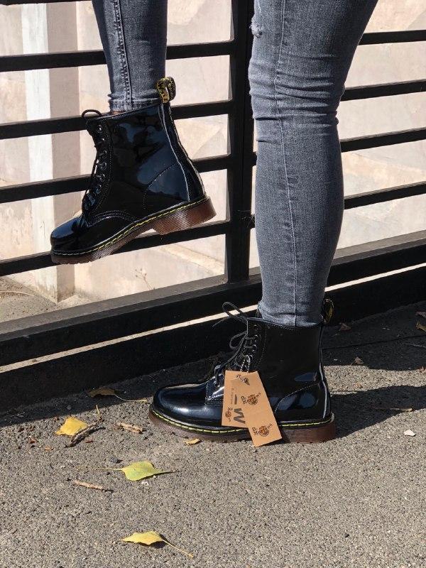 Шикарные женские зимние ботинки dr.martens 1460 black lacquere... - Фото 6