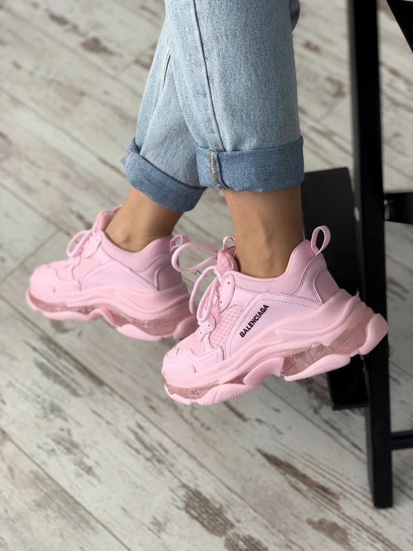 Шикарные женские кроссовки balenciaga triple s pink - Фото 2