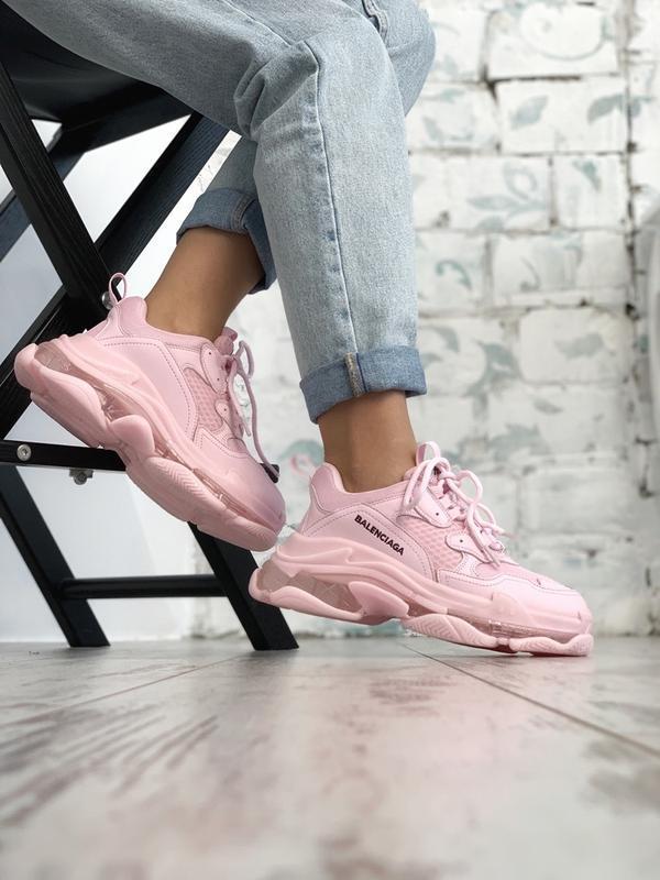 Шикарные женские кроссовки balenciaga triple s pink - Фото 3