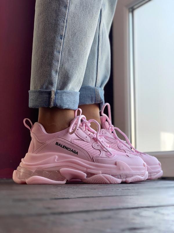 Шикарные женские кроссовки balenciaga triple s pink - Фото 4