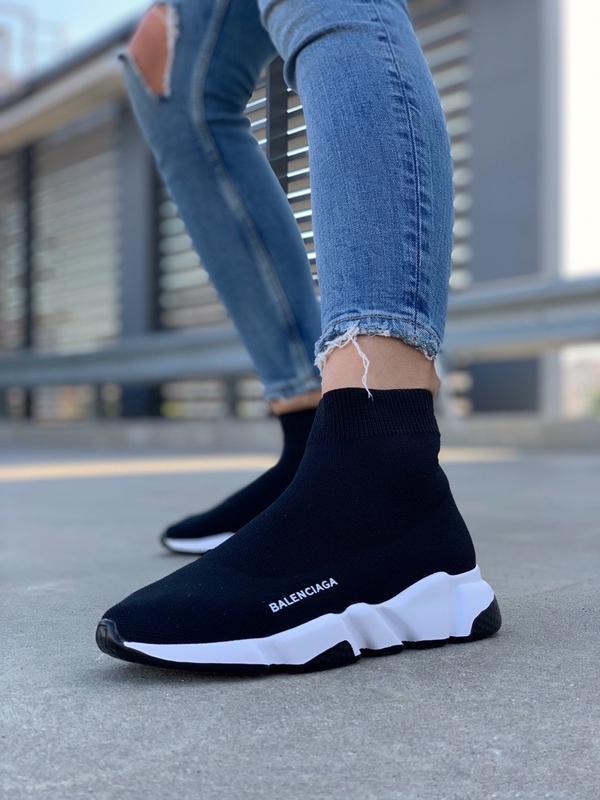 Шикарные женские кроссовки balenciaga speed trainer socks blac...