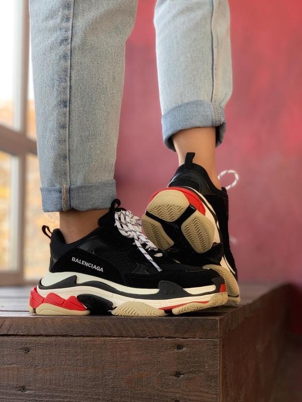 Шикарные женские кроссовки balenciaga triple s black red - Фото 4