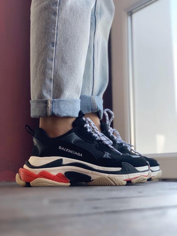 Шикарные женские кроссовки balenciaga triple s black red - Фото 5
