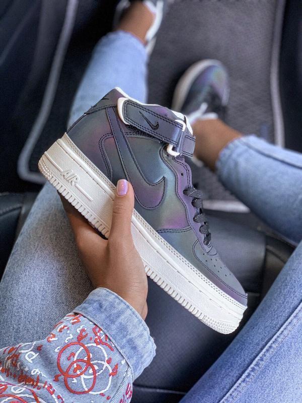 Шикарные женские кроссовки nike air force reflective high