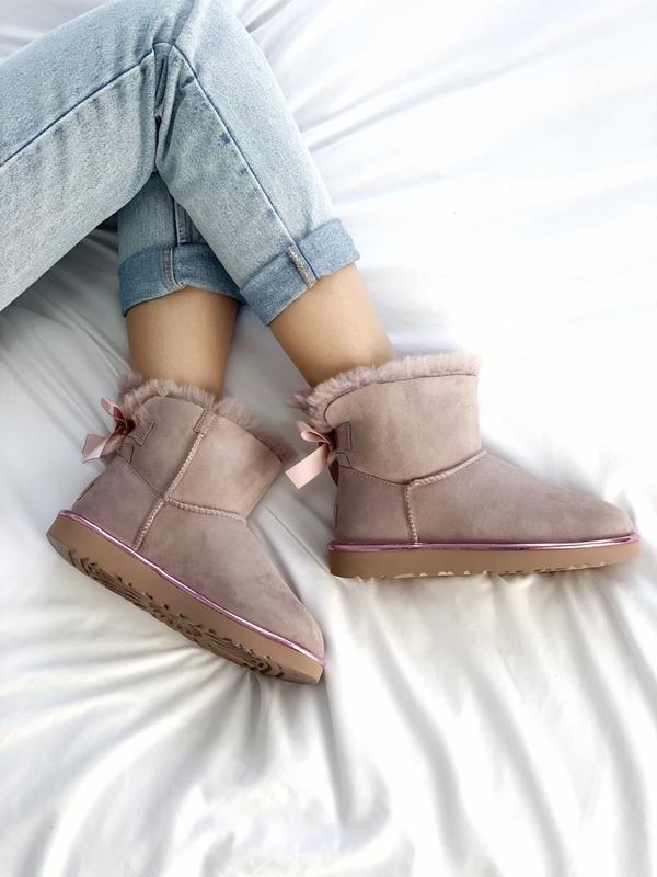 Шикарные женские сапоги ботинки зимние ugg bailey bow mini pink