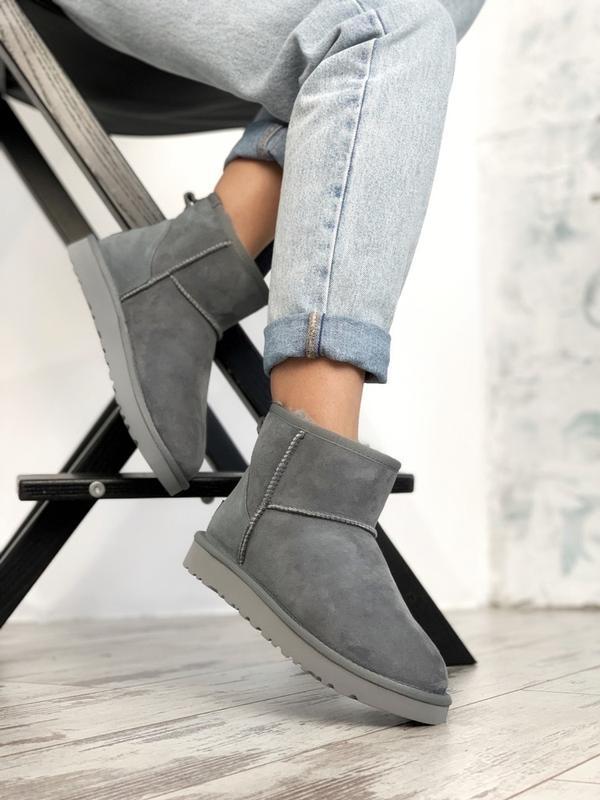 Шикарные женские сапоги ботинки зимние ugg classic ii mini gray