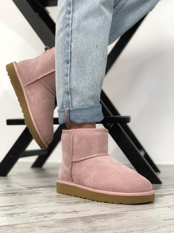 Шикарные женские зимние ботинки сапоги  ugg classic ii mini pink
