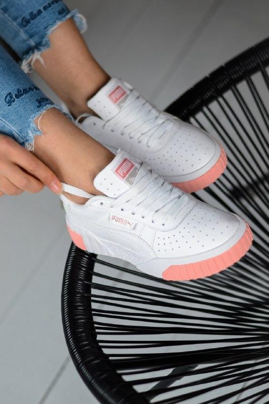 Шикарные женские кроссовки puma cali white/pink