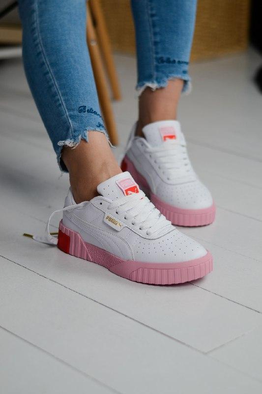 Шикарные женские кроссовки puma cali pink/white