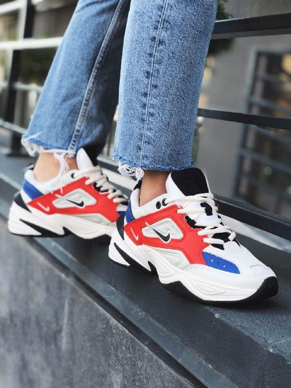 Шикарные женские кроссовки nike m2k tekno white / red / blue