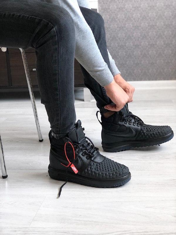 Шикарные женские кроссовки nike lunar force 1 duckboot black
