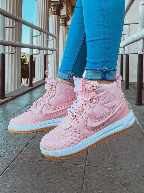 Шикарные женские кроссовки nike lunar force 1 duckboot pink - Фото 2