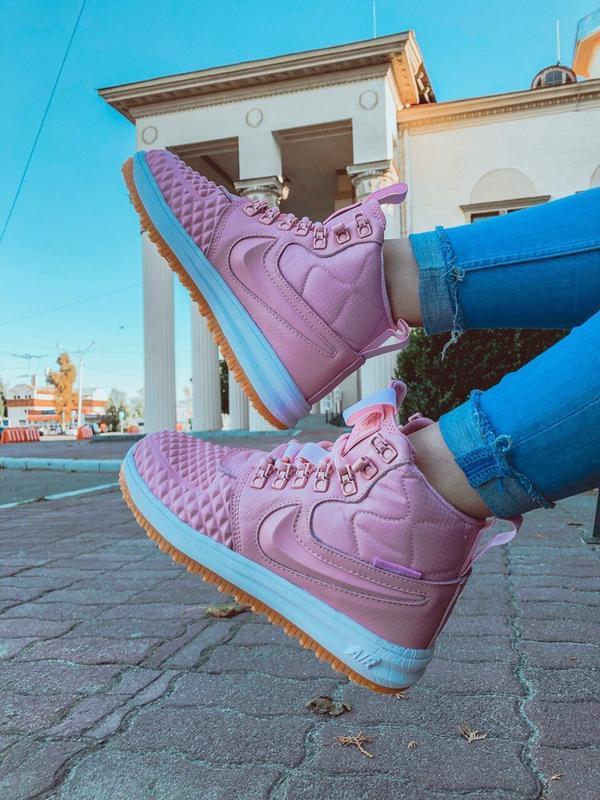 Шикарные женские кроссовки nike lunar force 1 duckboot pink - Фото 3
