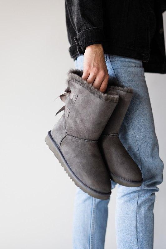 Шикарные женские  зимние сапоги ботинки  ugg bailey bow gray