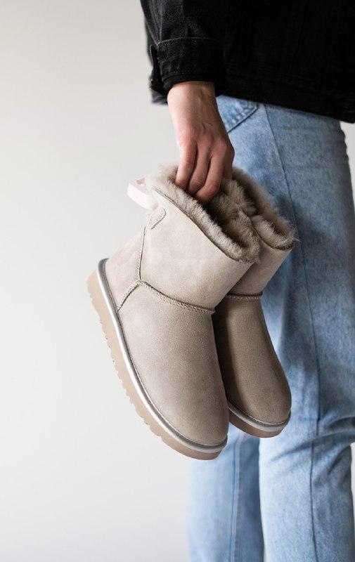 Шикарные женские  зимние сапоги ботинки ugg mini bailey bow gray