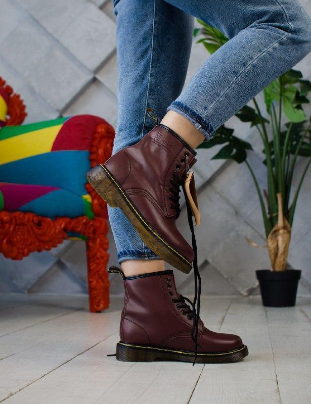 Шикарные женские осенние ботинки dr. martens cherry
