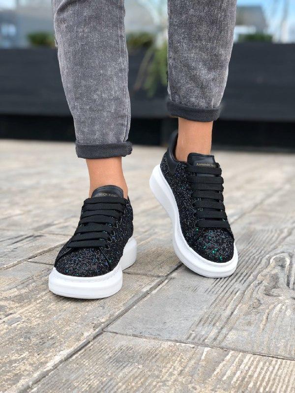 Шикарные женские  кроссовки alexander mcqueen black - Фото 2