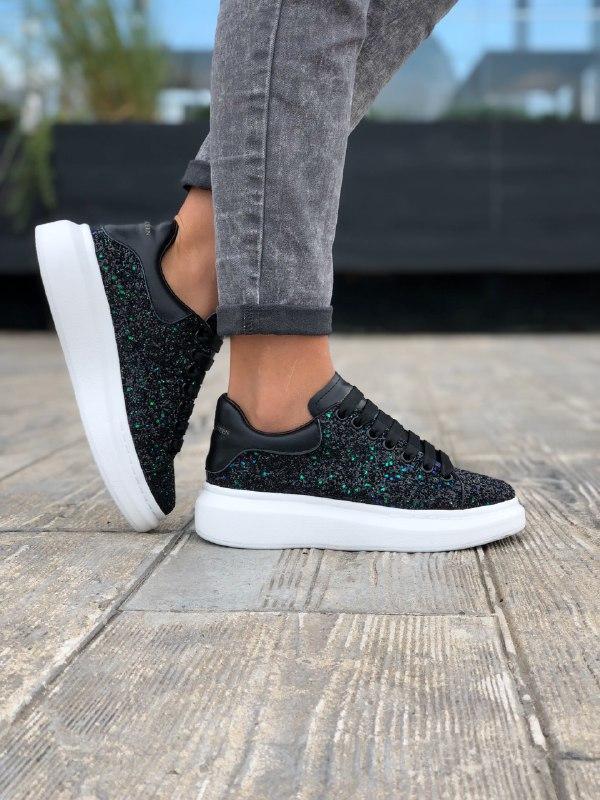 Шикарные женские  кроссовки alexander mcqueen black - Фото 4