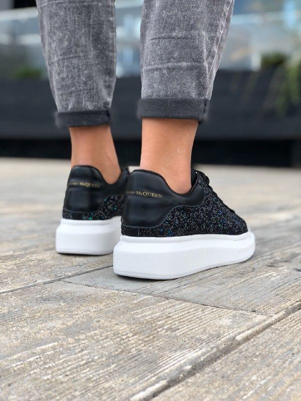 Шикарные женские  кроссовки alexander mcqueen black - Фото 5