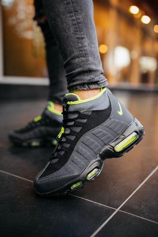 """Шикарные мужские кроссовки nike 95 sneakerboot """"black volt""""  т..."""