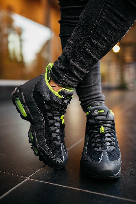 """Шикарные мужские кроссовки nike 95 sneakerboot """"black volt""""  т... - Фото 3"""