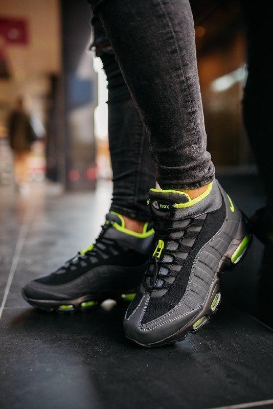 """Шикарные мужские кроссовки nike 95 sneakerboot """"black volt""""  т... - Фото 4"""