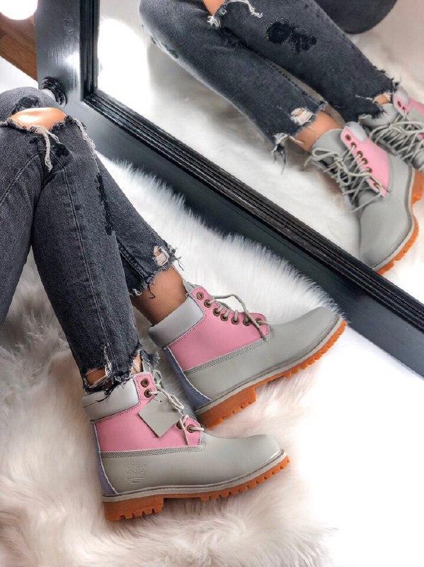 Шикарные женские осенние ботинки  timberland  pink grey  термо