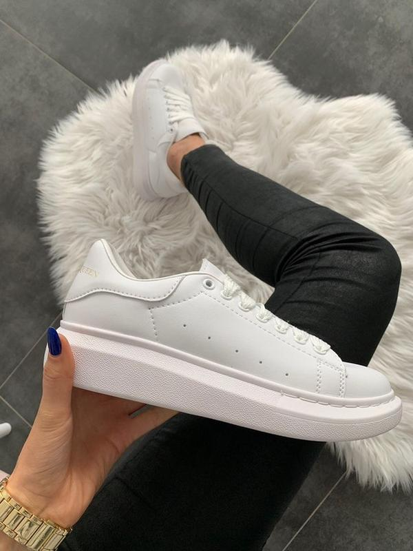 Шикарные женские кроссовки  alexander mcqueen full white