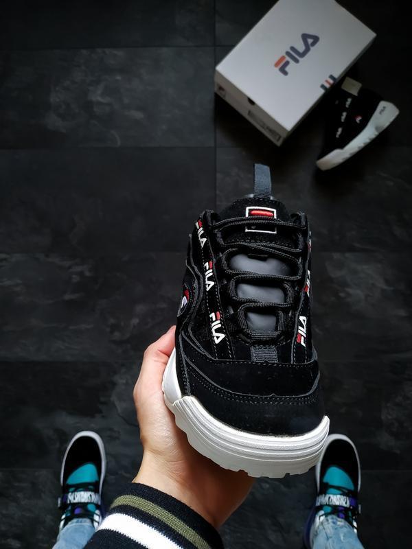 Шикарные женские кроссовки fila disruptor 2 black - Фото 3