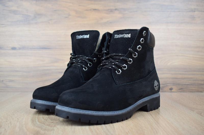 Шикарные женские зимние ботинки с мехом timberland boots black... - Фото 3