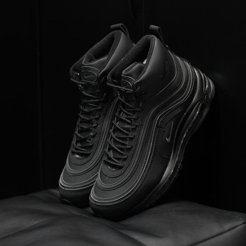 Шикарные мужские зимние кроссовки nike air max 97 black winter