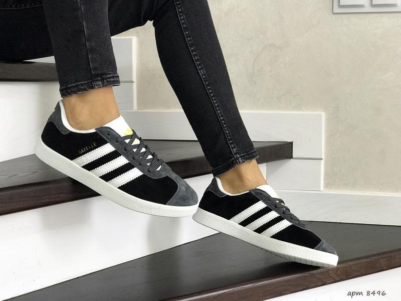 Шикарные женские кроссовки adidas gazelle black/grey - Фото 2