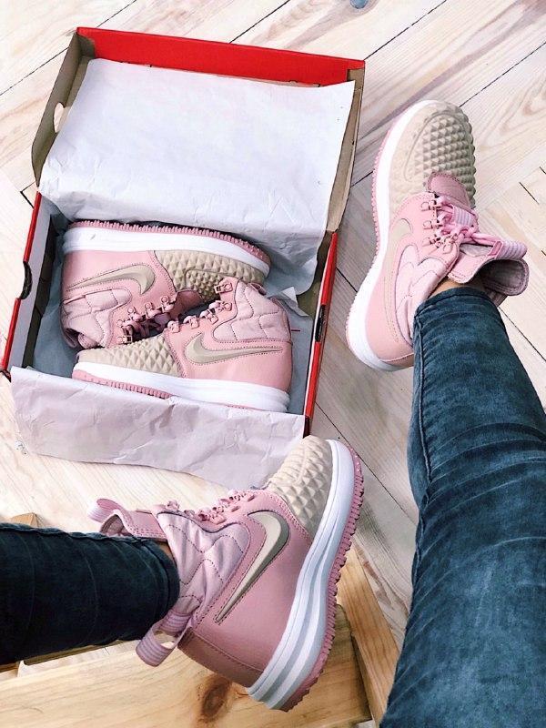 Шикарные женские термо кроссовки nike lunar force 2 duckboot pink - Фото 3